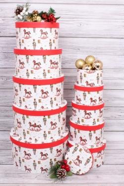 Набор подарочных коробок из 10шт - КРУГ Новый Год  Щелкунчик 35*35*18см  N138