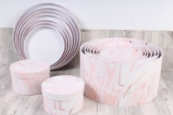 Набор подарочных коробок из 10шт - КРУГ Розовый мрамор d=33,5 h=17,5см SY813-1557  М