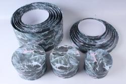Набор подарочных коробок из 10шт - КРУГ Серый мрамор d=33,5 h=17см SY813-1724  М