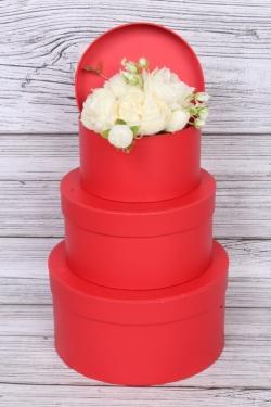 """Набор подарочных коробок из 3шт - КРУГ """"Шайбы"""" красный 20,7х10,5 см  2760М"""