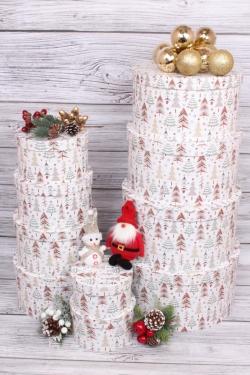 Набор подарочных коробок из 10шт - КРУГ  Нов. Год 35*17,3 см   SY813-1640NG