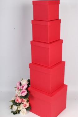 Набор подарочных коробок из 5шт - КУБ №2 Красный  21*21*21см Пин02-KКТ