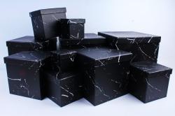 """Набор подарочных коробок из 10шт - КУБ """"Чёрный мрамор"""" SY601-1545"""