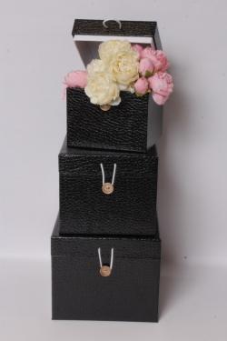 Набор подарочных коробок из 3шт - КУБ Чёрный 20*20*17см SY3325-BLACK