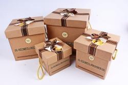 Набор подарочных коробок из 4шт - Куб Крафт с бантом горох