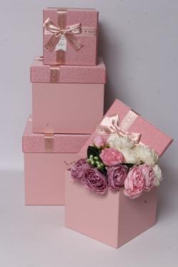 Набор подарочных коробок из 3шт - КУБ мерцание розовый 22*22*20см  В616