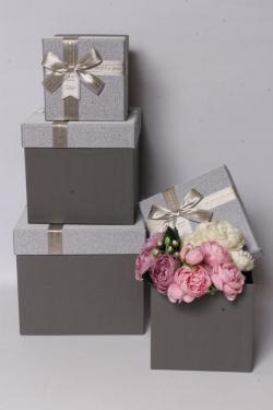 Набор подарочных коробок из 3шт - КУБ мерцание серебро 22*22*20см  В616