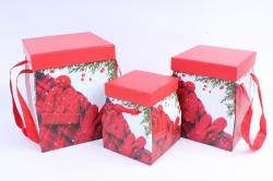 Набор подарочных коробок из 3шт - КУБ НГ с ручками   SY3018-1607NG