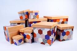 "Набор подарочных коробок из 10шт - КУБ ""Паттерн""   SY601-1506"