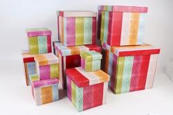 """Набор подарочных коробок из 10шт - КУБ """"Пэчворк   SY601-1548"""
