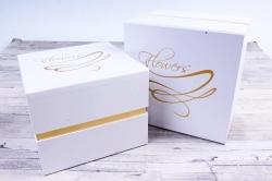 Набор подарочных коробок из 2шт - Куб с золотым росчерком белый  В560