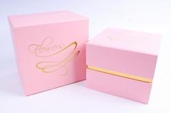 Набор подарочных коробок из 2шт - Куб с золотым росчерком розовый  В560