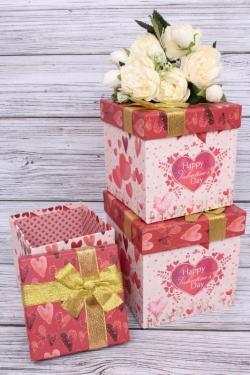 Набор подарочных коробок из 3шт - КУБ Сердца 16*16*16см S48