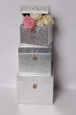Набор подарочных коробок из 3шт - КУБ Серебро 20*20*17см SY3325-SILVER