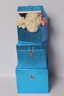 Набор подарочных коробок из 3шт - КУБ Синий 20*20*17см SY3325-BLUE