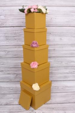 Набор подарочных коробок из 5шт - КУБ №2  Золото 21*21*21см Пин02-Зол