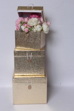 Набор подарочных коробок из 3шт - КУБ Золотой 20*20*17см SY3325-GOLD
