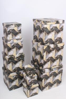 """Набор подарочных коробок из 10шт - КУБ  """"Абстракция 2"""" 26,5*26,5*26,5см  SY601-1805"""