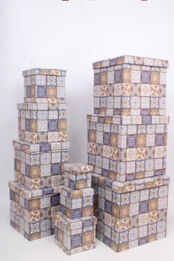 """Набор подарочных коробок из 10шт - КУБ  """"Азулежу"""" 26,5*26,5*26,5см  SY601-1711"""