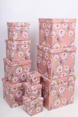 """Набор подарочных коробок из 10шт - КУБ  """"Цветы на розовом"""" 26,5*26,5*26,5см  SY601-1480"""