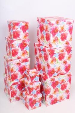 """Набор подарочных коробок из 10шт - КУБ  """"Цветы"""" 26,5*26,5*26,5см  SY601-1706"""