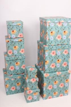 """Набор подарочных коробок из 10шт - КУБ  """"Цветы"""" 26,5*26,5*26,5см  SY601-1783"""