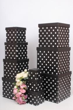 """Набор подарочных коробок из 10шт - КУБ  """"Горох черный"""" 26,5*26,5*26,5см  SY601-946"""