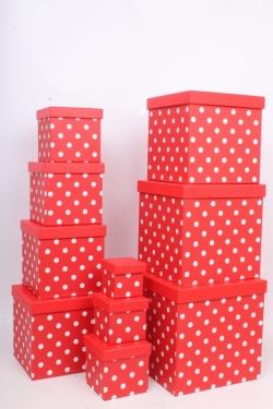 """Набор подарочных коробок из 10шт - КУБ  """"Горох красный"""" 26,5*26,5*26,5см  SY601-948"""