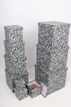 """Набор подарочных коробок из 10шт - КУБ  """"Каменная крошка"""" 26,5*26,5*26,5см  SY601-1798"""