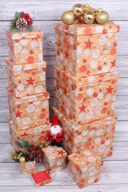 Набор подарочных коробок из 10шт - КУБ  Нов. Год 26,5*26,5 см   SY601-1650NG