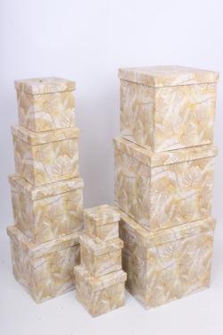 """Набор подарочных коробок из 10шт - КУБ  """"Папоротник Золото"""" 26,5*26,5*26,5см  SY601-1779"""