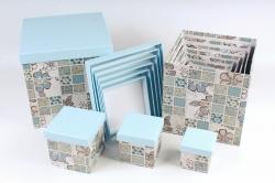 """Набор подарочных коробок из 10шт - КУБ  """"Пэчворк""""  SY601-1590 М"""