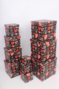 """Набор подарочных коробок из 10шт - КУБ  """"Сердца"""" 26,5*26,5*26,5см  SY601-1782"""