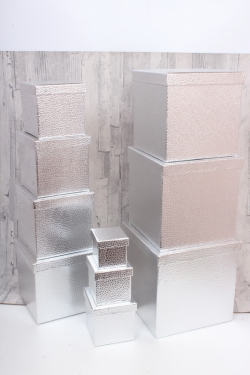 """Набор подарочных коробок из 10шт - КУБ  """"Серебро"""" 26,5*26,5*26,5см  SY601-Silver"""