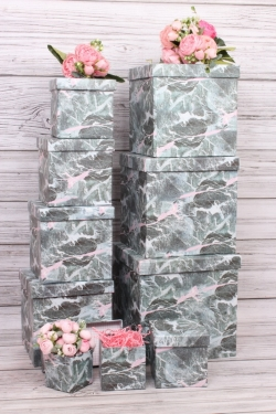 """Набор подарочных коробок из 10шт - КУБ  """"Серый мрамор"""" 26,5*26,5*26,5см  SY601-1724"""