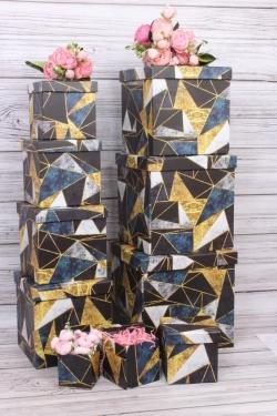 """Набор подарочных коробок из 10шт - КУБ  """"Треугольники"""" 26,5*26,5*26,5см  SY601-1753"""