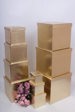 """Набор подарочных коробок из 10шт - КУБ  """"Золото"""" 26,5*26,5*26,5см  SY601-GOLD"""