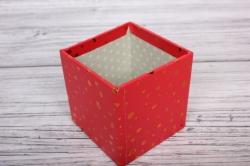 """Набор подарочных коробок из 10шт - КУБ  """"Золотые капли на красном"""" 26,5*26,5*26,5см  SY601-1535"""