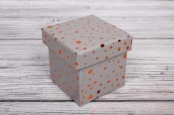 """Набор подарочных коробок из 10шт - КУБ  """"Золотые капли на сером"""" 26,5*26,5*26,5см  SY601-1904"""