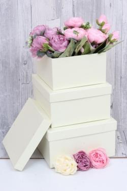 Набор подарочных коробок из 3шт - Квадрат № 75 Бежевый перламутр 19,5см*19,5см*10.5см  Пин75БК