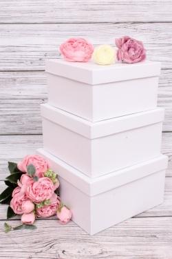 Набор подарочных коробок из 3шт - Квадрат № 75 Белый Перламутр19,5см*19,5см*11см  Пин75-БЛП