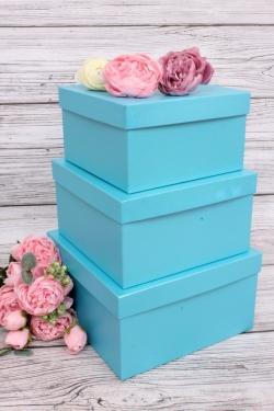 Набор подарочных коробок из 3шт - Квадрат № 75 Голубой Перламутр19,5см*19,5см*11см  Пин75-ГолП