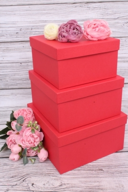 Набор подарочных коробок из 3шт - Квадрат № 75 Красный КТ 19,5см*19,5см*11см  Пин75-КрКТ