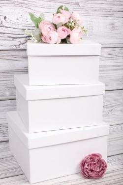 Набор подарочных коробок из 3шт - Квадрат № 75 ЛЮКС Белый 19,5см*19,5см*11см  Пин75Б/Люкс