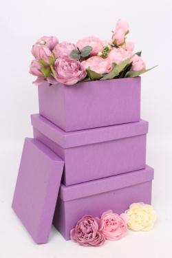 Набор подарочных коробок из 3шт - Квадрат № 75 ЛЮКС Фиолетовый 19,5см*19,5см*10.5см  Пин75Ф/Люкс