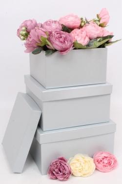 Набор подарочных коробок из 3шт - Квадрат № 75 ЛЮКС Платина 19,5см*19,5см*10.5см  Пин75Пл/Люкс