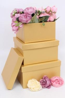 Набор подарочных коробок из 3шт - Квадрат № 75 ЛЮКС Золото 19,5см*19,5см*10.5см  Пин75Зол/Люкс