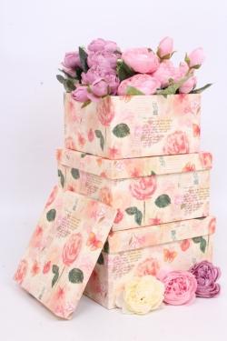 Набор подарочных коробок из 3шт - Квадрат № 75 Розы ретро 19,5см*19,5см*10.5см  Пин75РР