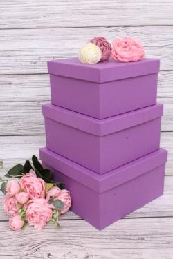 Набор подарочных коробок из 3шт - Квадрат № 75 Сиреневый КТ 19,5см*19,5см*11см  Пин75СирКТ