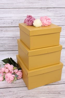 Набор подарочных коробок из 3шт - Квадрат № 75 Золото 19,5см*19,5см*11см  Пин75-Зол
